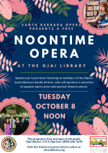 Flyer for event, info on calendar listing. Flyer is floral, colored navy and cotal with as images of the opera singers.