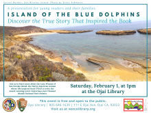 Flyer for the event, info on the calendar listing. The flyer is colored blue, white, and teal with a photo of San Nicholas Island.