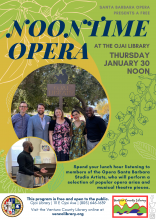 Flyer for the event, info on the calendar listing. The flyer is retro colored, mustard and olive with two photos. The first photo is of the opera company and the second is a male opera singer singing in the library.