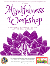 Flyer for the event, info on the calendar listing. The flyer is mainly white and purple with a lotus flower graphic.