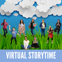 Virtual Storytimes - Photos of librarians against a 3D background of paper clouds and grass