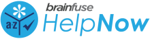 brainfuse - Help Now Logo - small blue logo with a-z, flower, and check mark