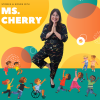 smiling woman stands in a yoga pose against a bright backdrop filled with cartoon children